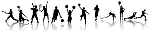 Silhouettes of various athletes: baseball, basketball, tennis, cheerleading, soccer, track